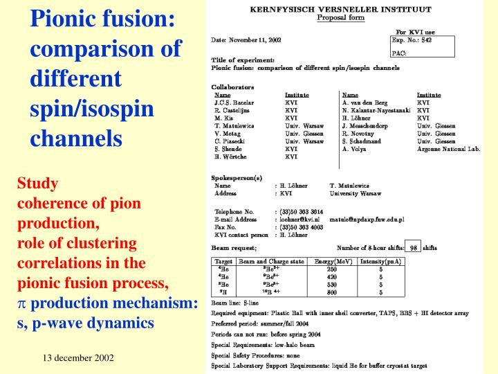 Pionic fusion comparison of different spin isospin channels