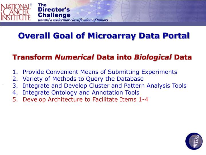 Overall goal of microarray data portal