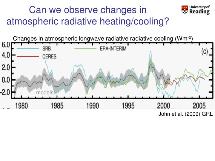 Can we observe changes in atmospheric radiative heating/cooling?