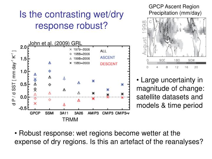 Is the contrasting wet/dry response robust?