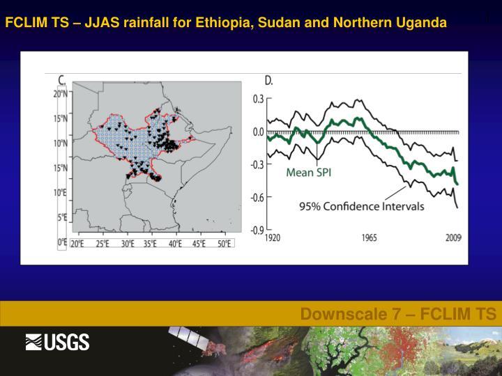 FCLIM TS – JJAS rainfall for Ethiopia, Sudan and Northern Uganda