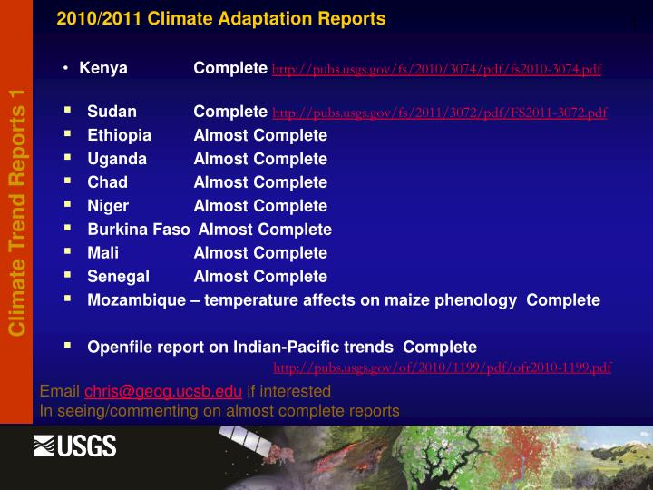2010/2011 Climate Adaptation Reports