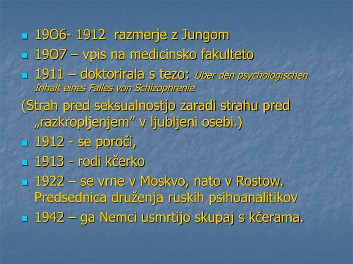 19O6- 1912  razmerje z Jungom