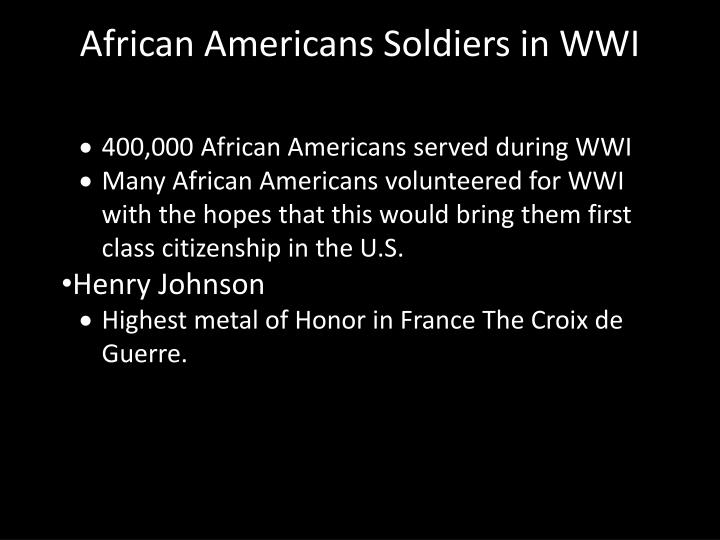 African Americans Soldiers in WWI