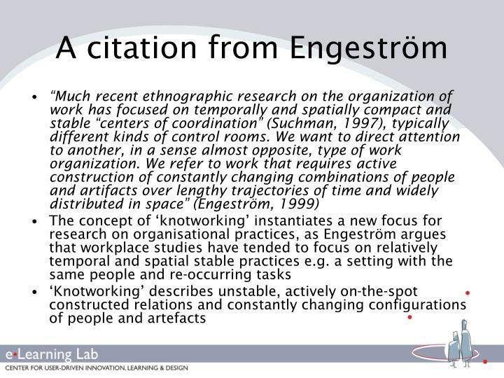A citation from Engeström