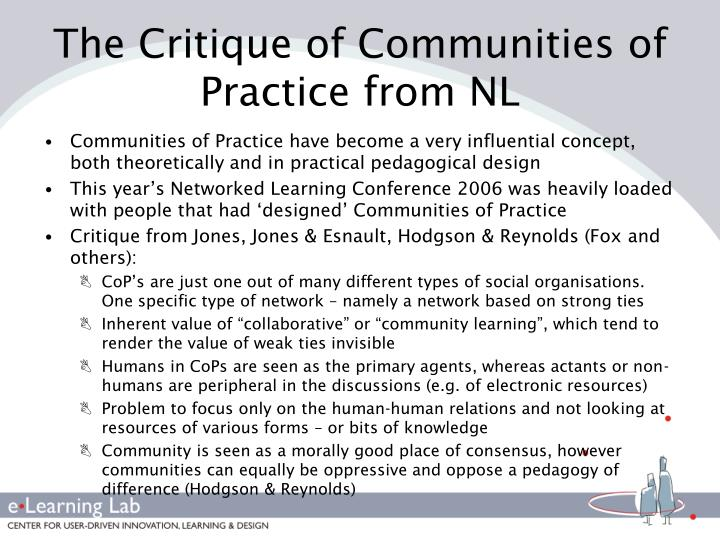 The Critique of Communities of Practice from NL