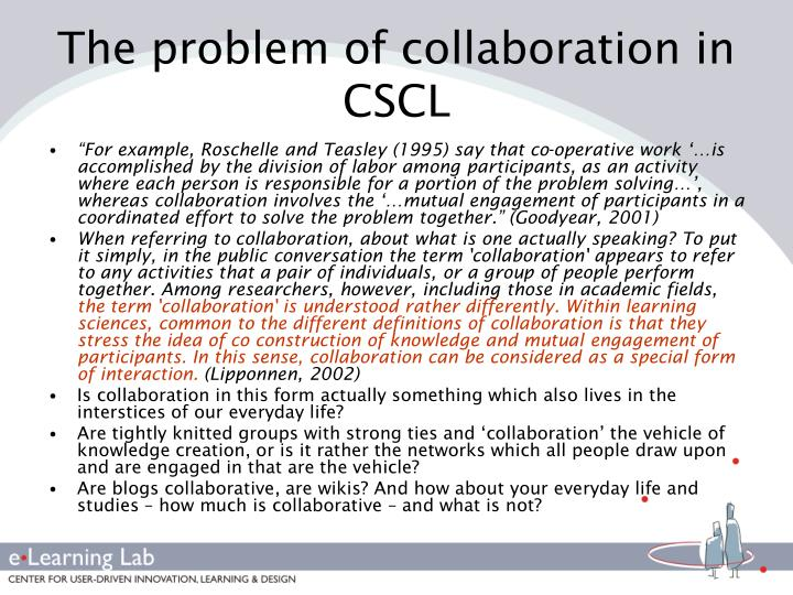 The problem of collaboration in CSCL