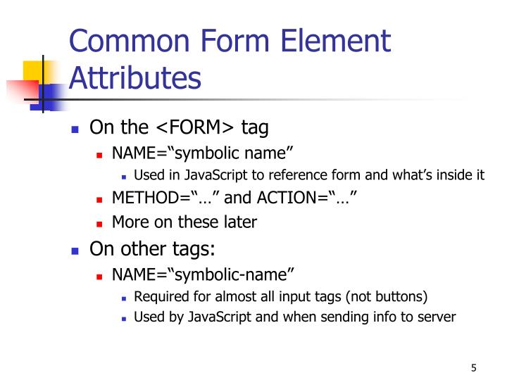 Common Form Element Attributes