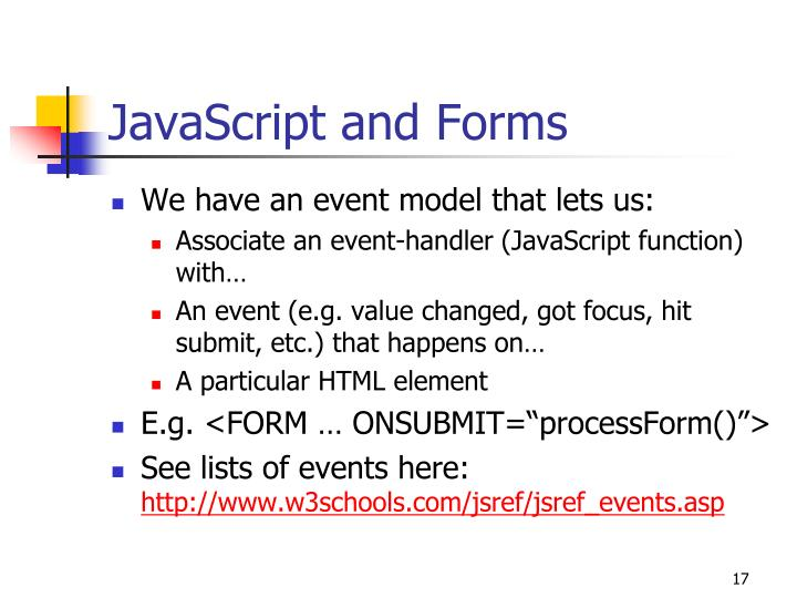 JavaScript and Forms