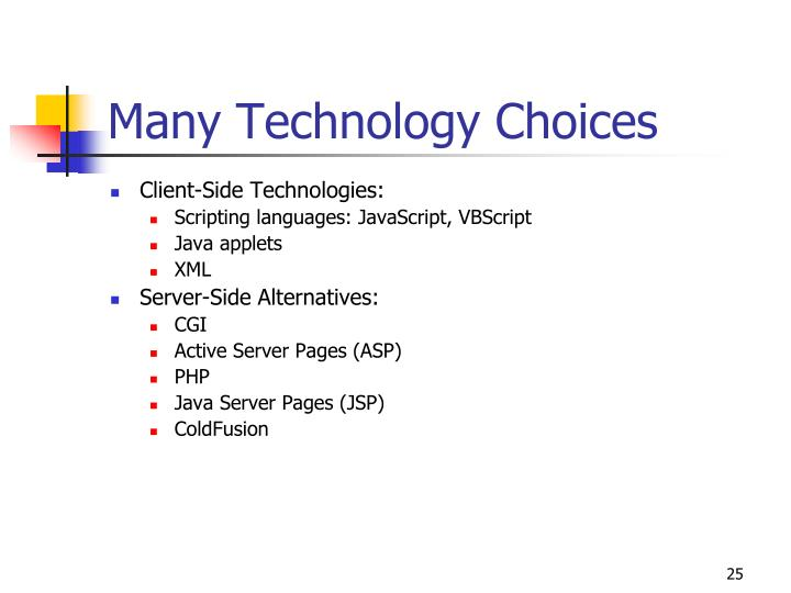 Many Technology Choices