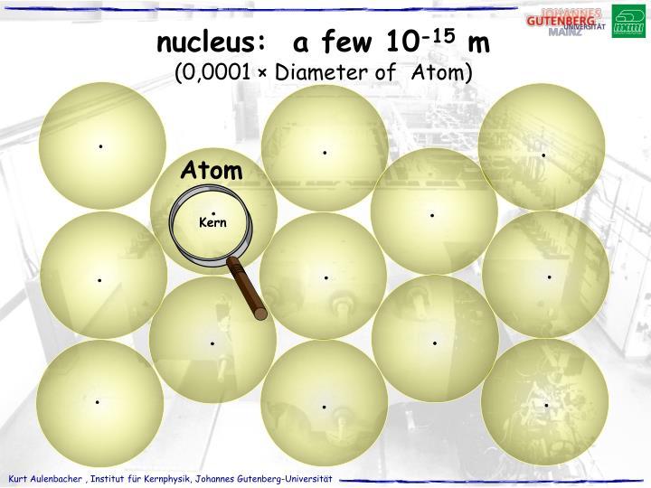 nucleus:  a few 10