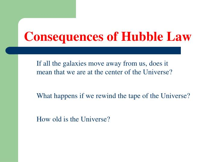 Consequences of Hubble Law
