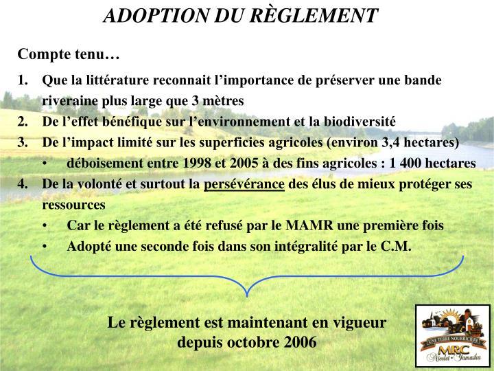 ADOPTION DU RÈGLEMENT