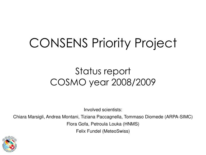 consens priority project status report cosmo year 2008 2009