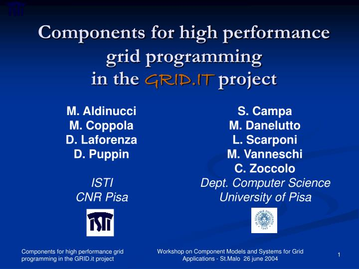 components for high performance grid programming in the grid it project
