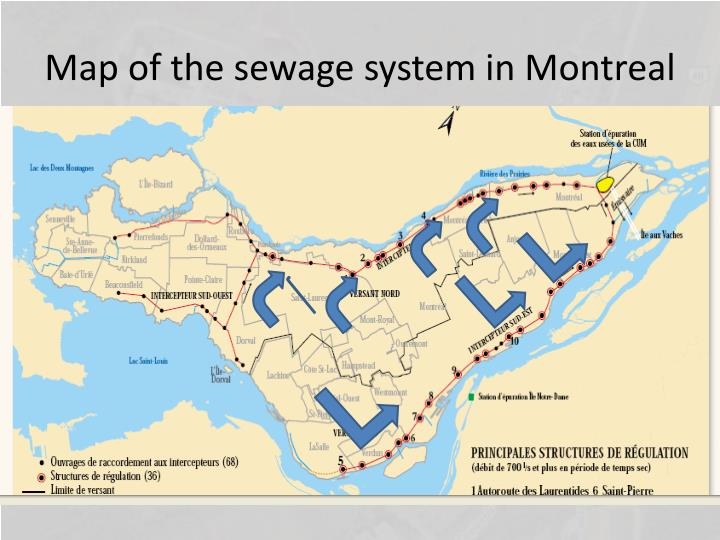 Map of the sewage system in Montreal