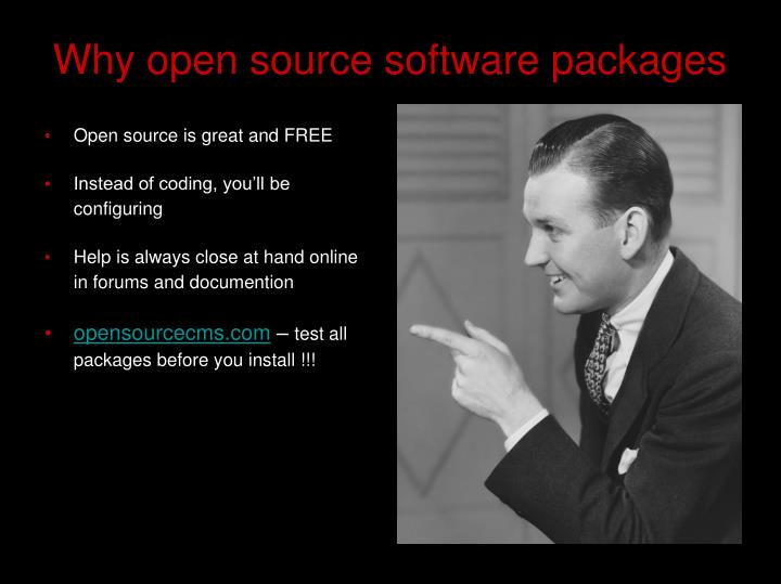 Why open source software packages