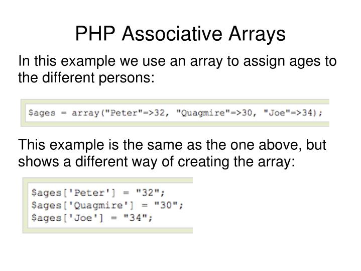 In this example we use an array to assign ages to the different persons: