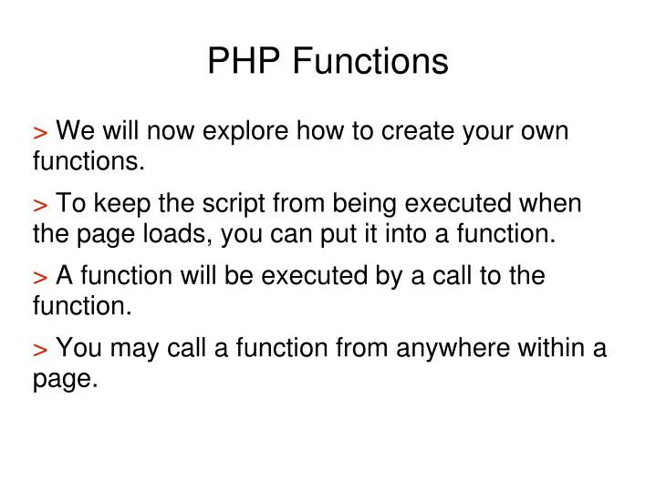 PHP Functions