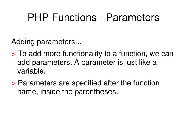 PHP Functions - Parameters