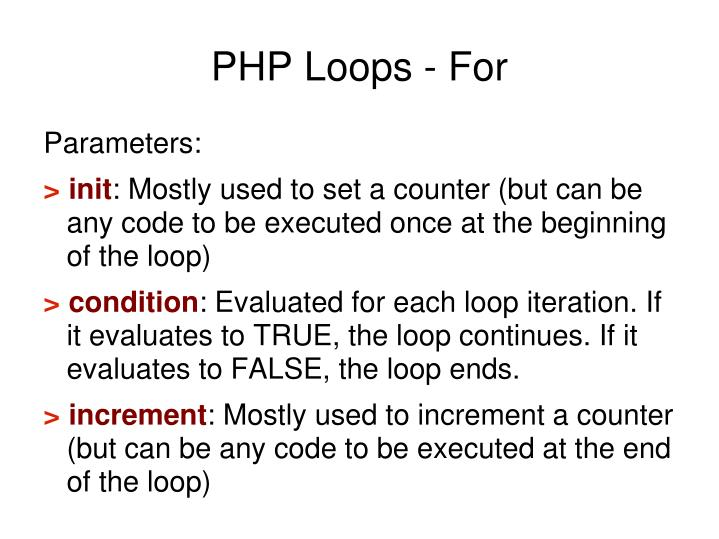 PHP Loops - For