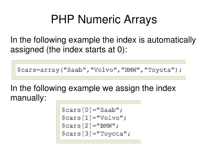 In the following example the index is automatically assigned (the index starts at 0):