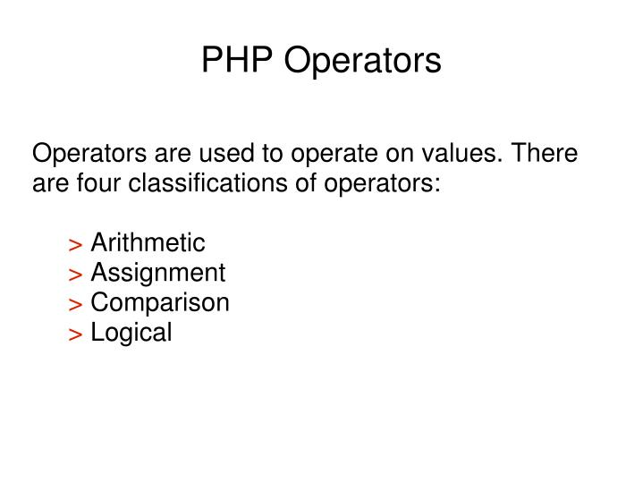 Operators are used to operate on values. There are four classifications of operators: