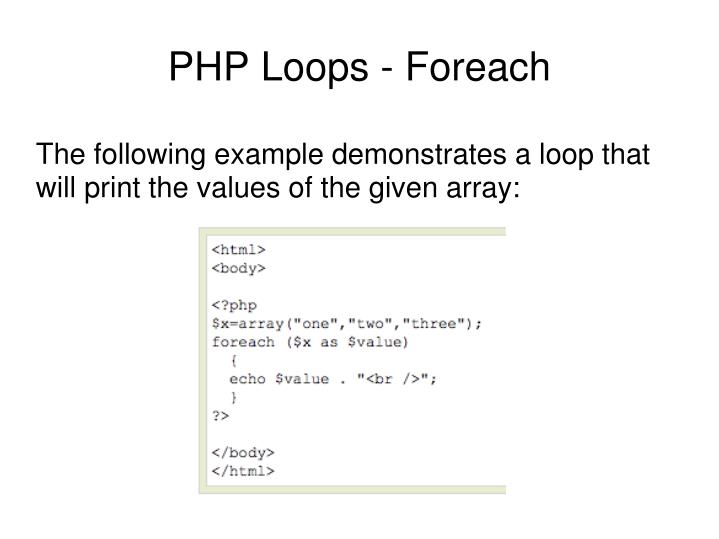 The following example demonstrates a loop that will print the values of the given array: