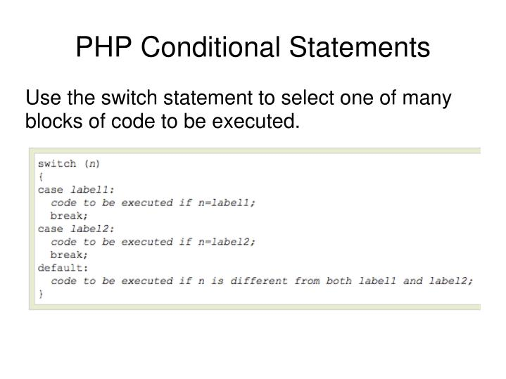 Use the switch statement to select one of many blocks of code to be executed.