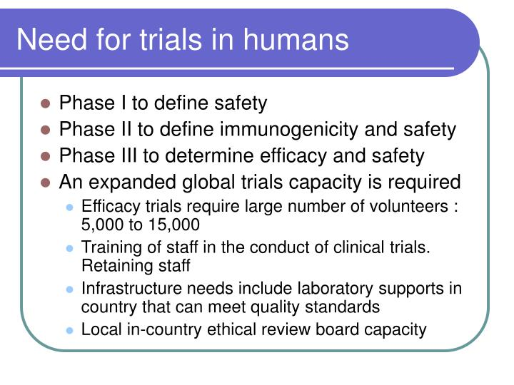 Need for trials in humans