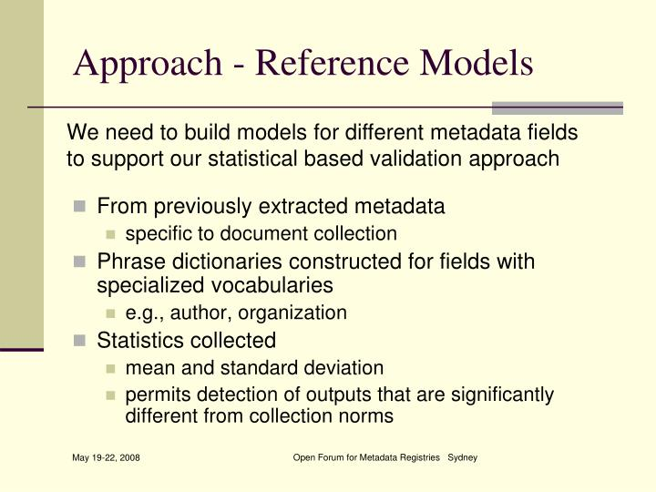 Approach - Reference Models