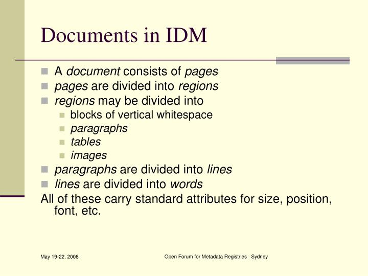 Documents in IDM