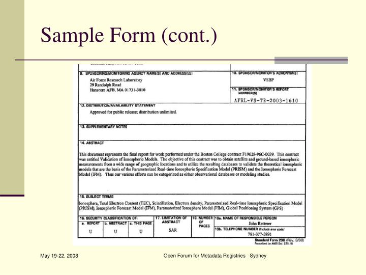 Sample Form (cont.)
