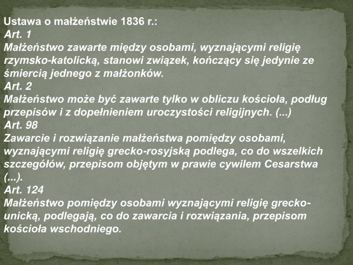 Ustawa o małżeństwie 1836 r.: