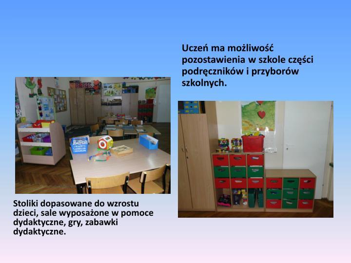 Stoliki dopasowane do wzrostu dzieci, sale wyposażone w pomoce dydaktyczne, gry, zabawki dydaktyczne.