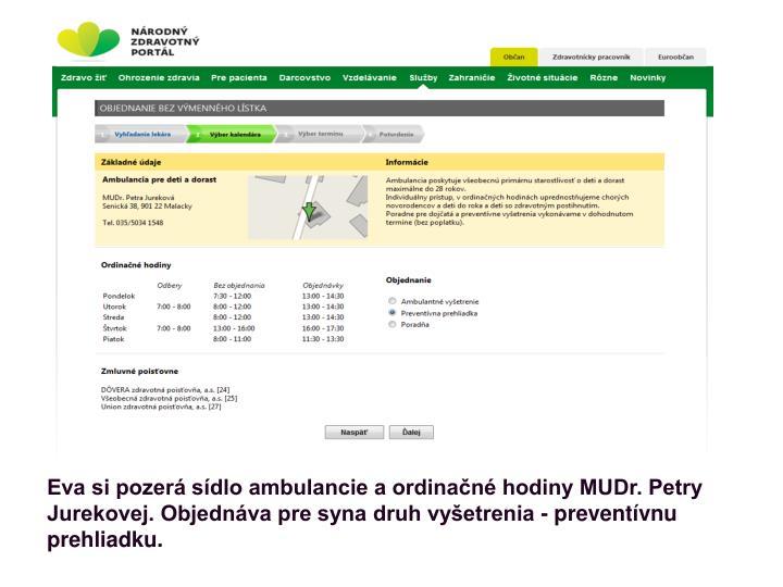 Eva si pozerá sídlo ambulancie a ordinačné hodiny MUDr. Petry Jurekovej. Objednáva pre syna druh vyšetrenia - preventívnu prehliadku.