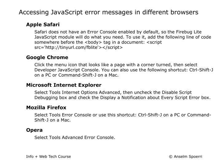Accessing JavaScript error messages in different browsers