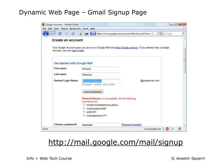 Dynamic Web Page – Gmail Signup Page