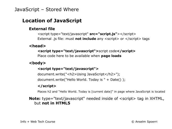 JavaScript – Stored Where