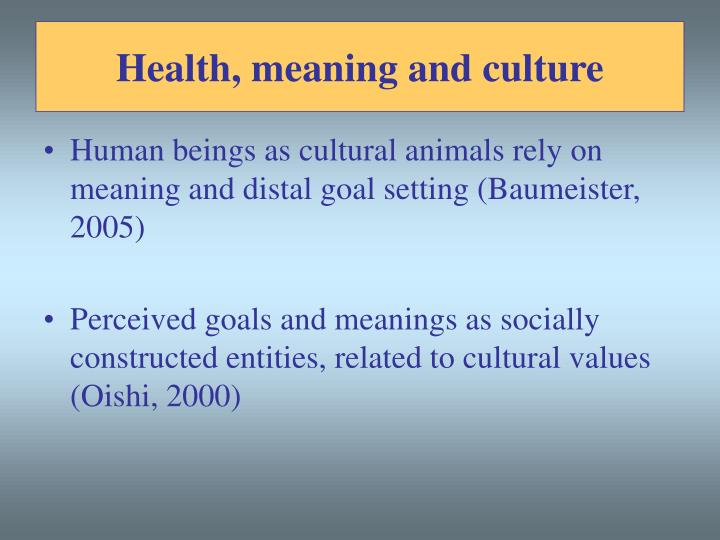 Health, meaning and culture