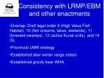 consistency with lrmp ebm and other enactments