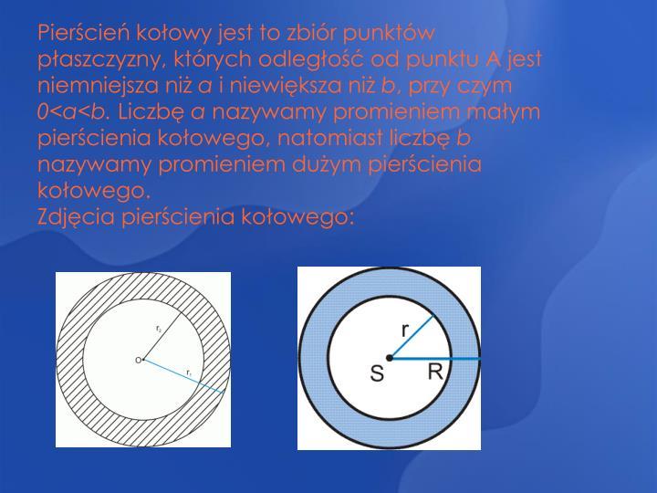 Pierścień kołowy jest to zbiór punktów płaszczyzny, których odległość od punktu A jest niemniejsza niż