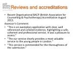 reviews and accreditations