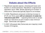 debate about the effects