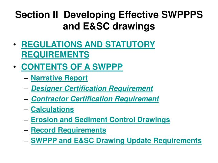 Section II  Developing Effective SWPPPS and E&SC drawings