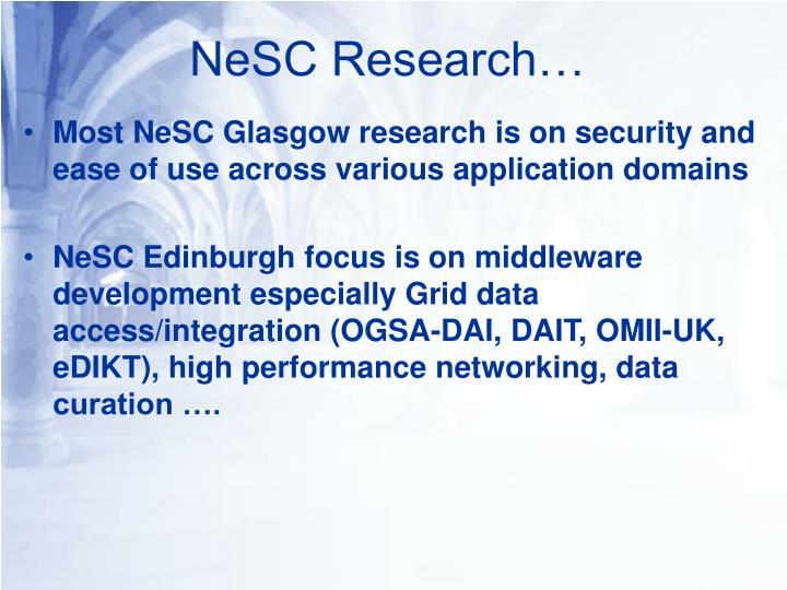 NeSC Research…