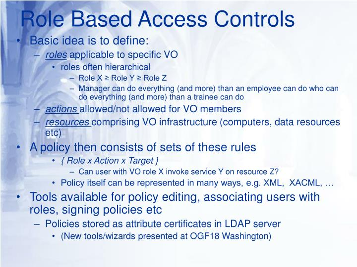 Role Based Access Controls