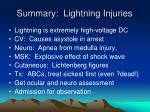 summary lightning injuries