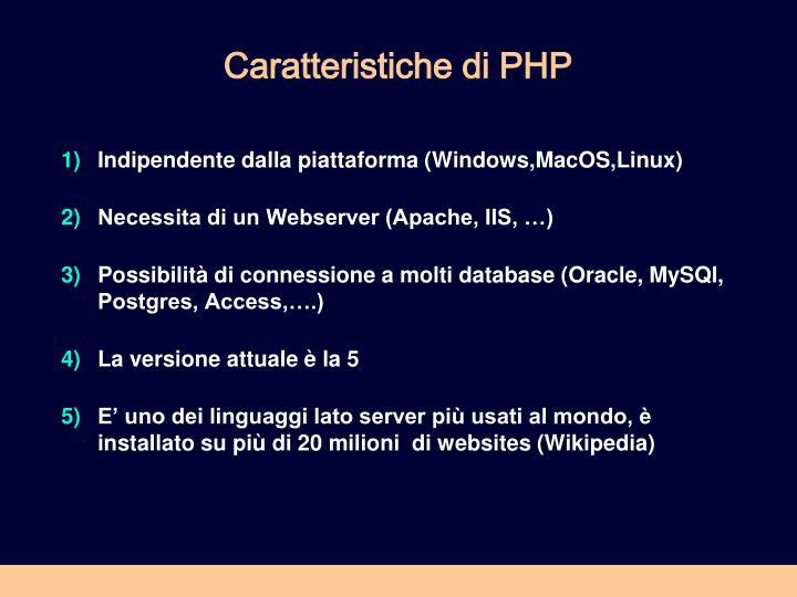 Caratteristiche di PHP