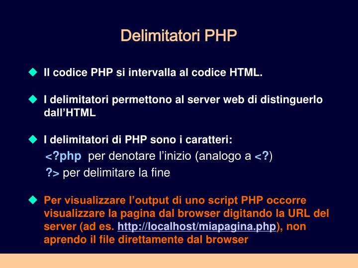 Delimitatori PHP